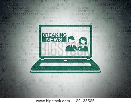 News concept: Breaking News On Laptop on Digital Paper background