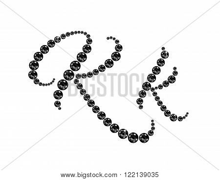 Kk in stunning Onyx Script precious round jewels isolated on white.