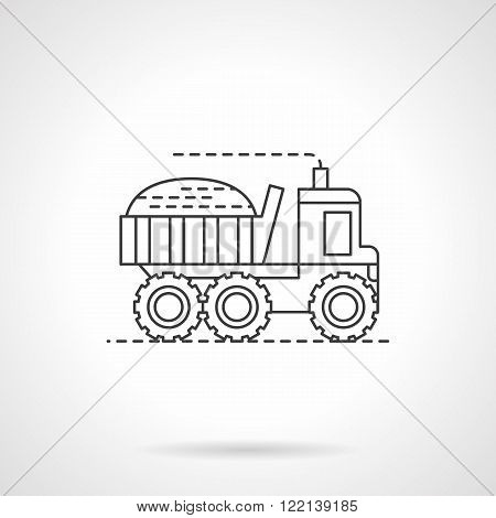 Harvesting truck flat thin line vector icon