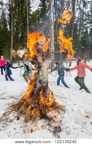 Merry Dance Around The Burning Effigy Of Maslenitsa, On March 13, 2016.