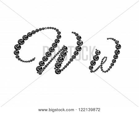 Ww in stunning Onyx Script precious round jewels isolated on white.
