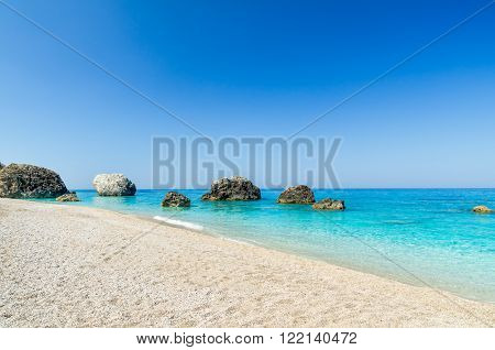 Megali Petra Beach, Lefkada Island, Greece. A beautiful beach with large rocks in the water. ** Note: Soft Focus at 100%, best at smaller sizes