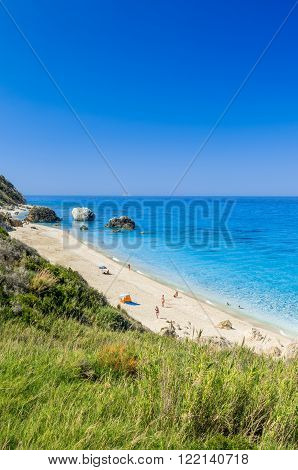 Wild beach of Megali Petra. A beautiful beach with large rocks in the water. ** Note: Soft Focus at 100%, best at smaller sizes