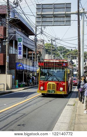 KAMAKURA, JAPAN - MAY 06, 2012: Bus in Kamakura, a coastal town in Kanagawa prefecture, Japan