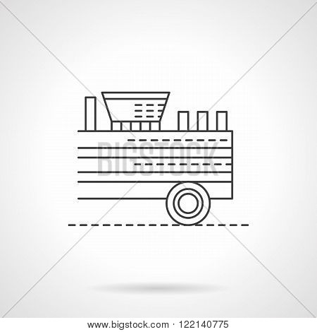 Wood chipper flat thin line vector icon