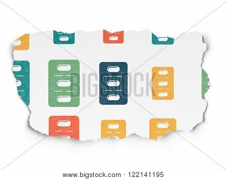 Healthcare concept: Pills Blister icons on Torn Paper background