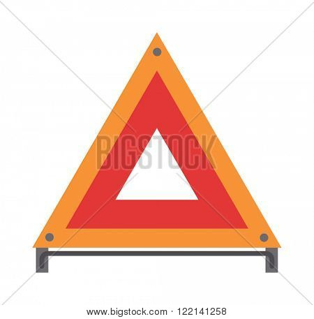 Red emergency road sign triangle and warning car accident road emergency sign flat vector. Red warning triangle emergency road sign flat vector illustration icon.
