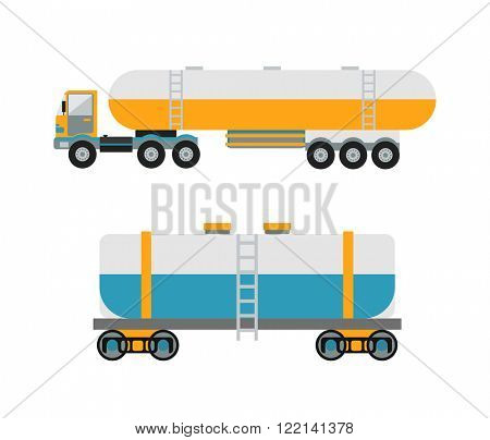 Oil logistic transportation business and oil logistic industrial transportation tank container. Oil logistic petroleum transportation, tank car, tanker metal barrel flat vector illustration.