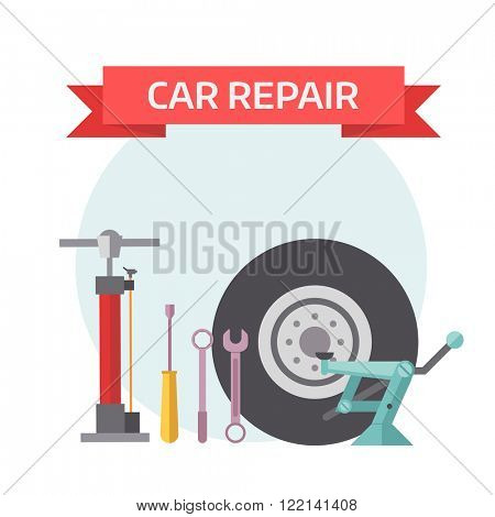 Tire service design concept with swappable drives mounting service work flat icons and tire service industry isolated vector illustration. Tire service mechanic elements design concept flat vector.