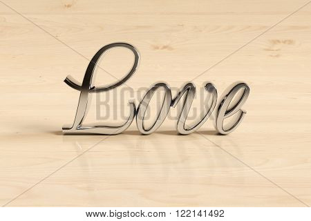 Metal love sign on wood background