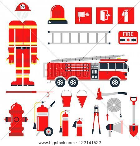 Fire safety equipment and Fire safety emergency icons set. Vector Set Firefighter Fire safety Flat Icons and Symbols.