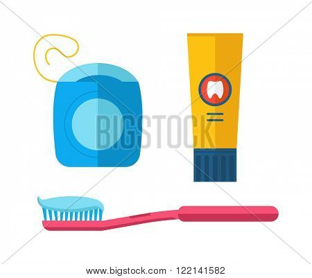 Dental care symbols toothpaste, toothbrush, dental floss. Dental floss, teeth, mouth, tooth paste on blue background