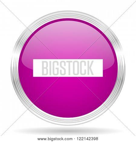 minus pink modern web design glossy circle icon