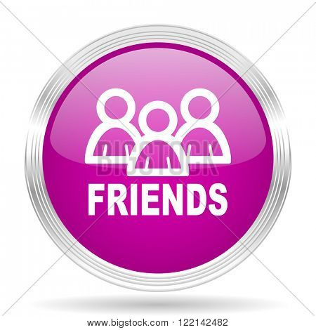 friends pink modern web design glossy circle icon