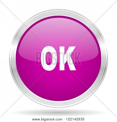 ok pink modern web design glossy circle icon