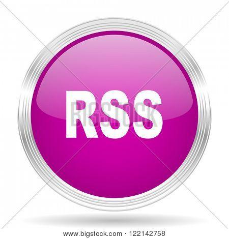 rss pink modern web design glossy circle icon