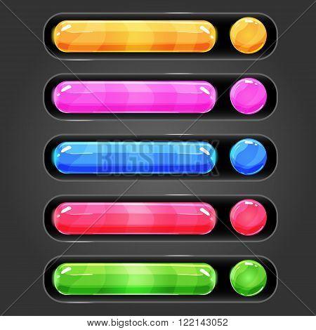 Progress bar set for games. Game interface illustration.