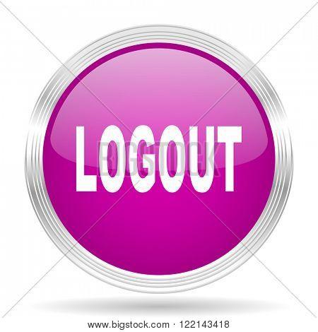 logout pink modern web design glossy circle icon