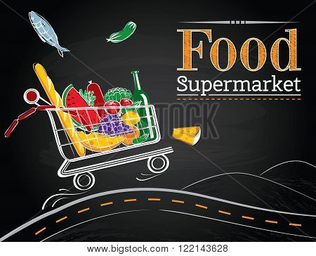 Vector trolley full of delicious food driving on the road on the chalkboard background