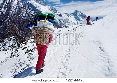 Porters With Heavy Load,  Nepal