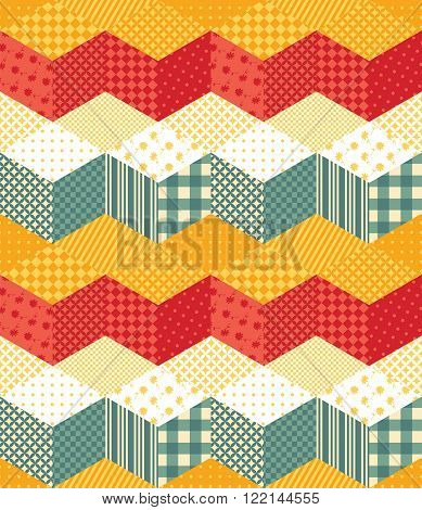 Bright seamless patchwork pattern with zigzags. Vector illustration of quilt.
