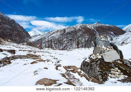 Hiking group on a trail. Sagarmatha National Park, Nepal, Himalayas