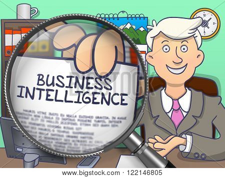 Business Intelligence. Businessman Welcomes in Office and Showing through Magnifying Glass Paper with Inscription Business Intelligence. Multicolor Doodle Style Illustration.