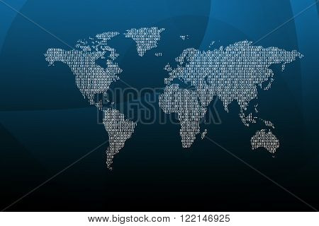 World map with numbers on blue background