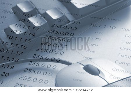 Close-up of computer and mouse overlaid with IP addresses