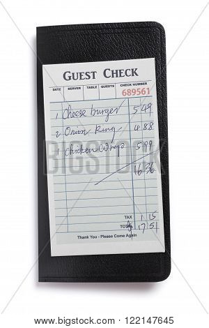 Fake Guest Check concept of restaurant expense.