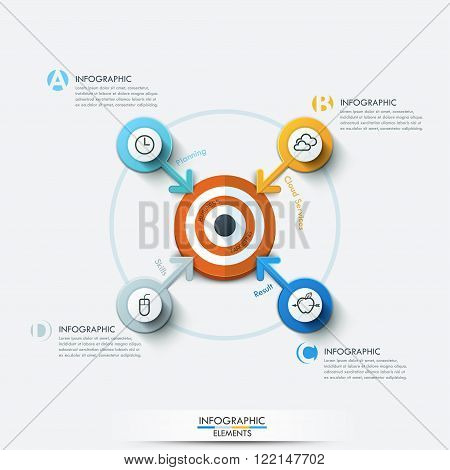 Business target marketing concept. Target with arrows and line icons for 4 options. Can be used for workflow layout, banner, diagram, web design, infographic template.