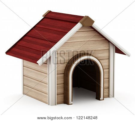 Doghouse with red roof isolated on white background