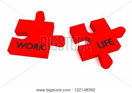 Red Puzzle, work and life, jigsaw on a white background