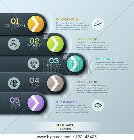 Modern business style infographic template. with circles and ribbons for 5 options. Vector illustration. can be used for workflow layout, diagram, number options, step up options, web design, infographics.