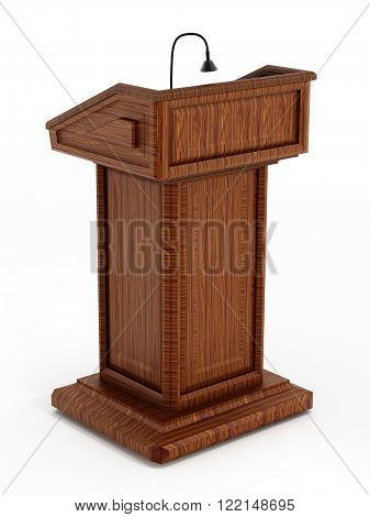Wooden with light stand lectern isolated on white background