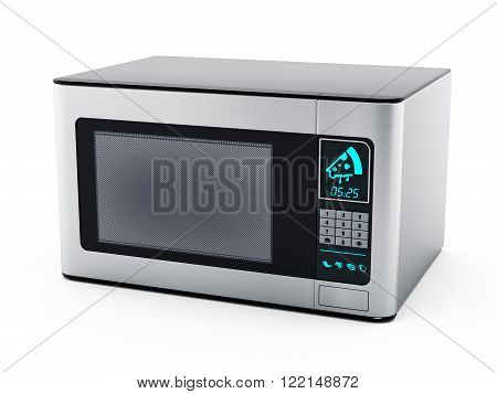 Gray microwave oven isolated on white background