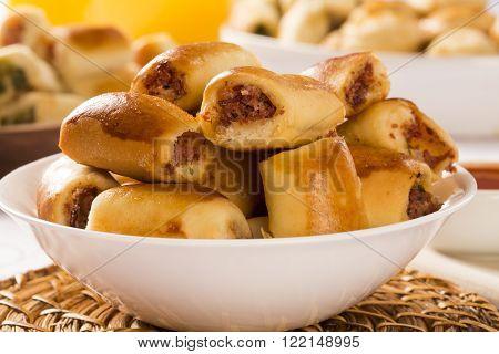 Brazilian Snack. Pepperoni Snacks Portion.