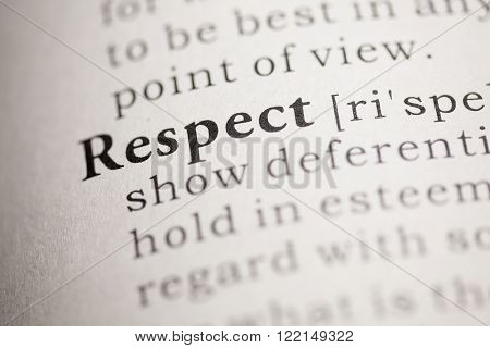 Fake dictionary, definition of the word Respect