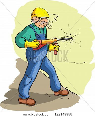 Vector illustrations of funny drilling construction worker
