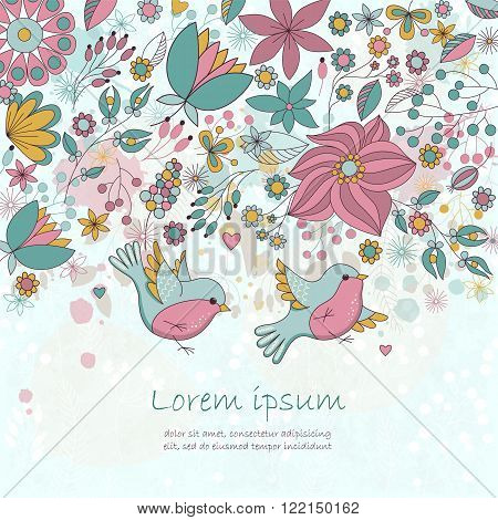 Vector card with flowers and birds. Cute pastel floral background. Romantic card. Perfect for greetings, invitations, announcement, wedding design.