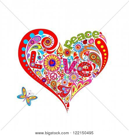 Hippie heart shape with funny colorful flowers