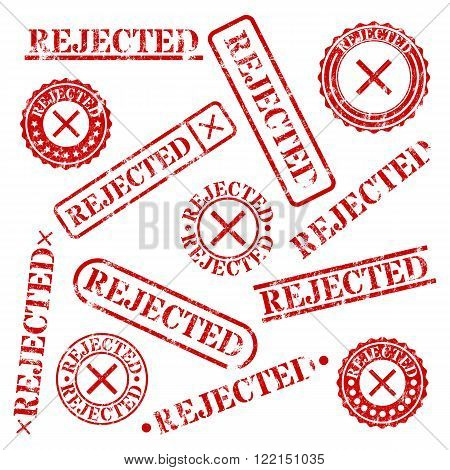 Set of round and rectangular stamps rejected isolated on white background vector illustration.