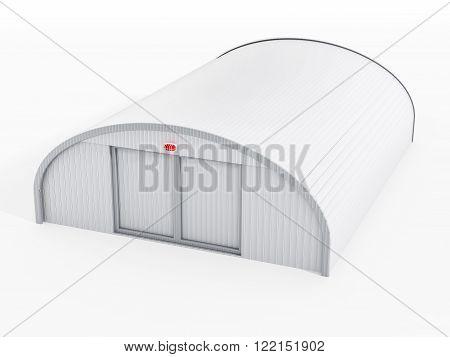 White airplane hangar isolated on white background