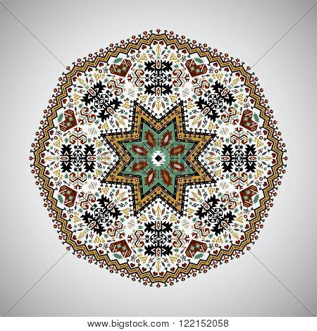 Ornamental colorful round  mandala in aztec style