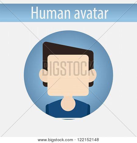 Avatar male white pupil man vector illustration on isolated background flat design