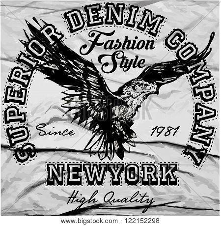 Vintage Americana Eagle Graphic fashion style vector