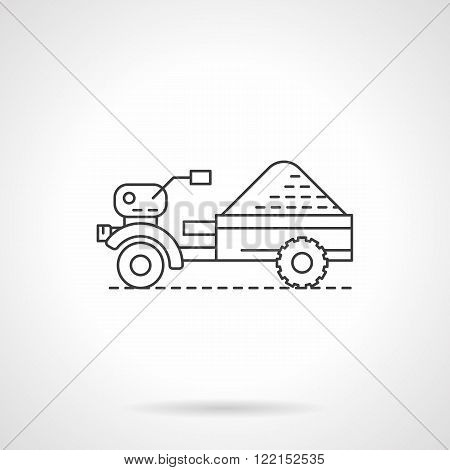 Tractor and trailer flat thin line vector icon