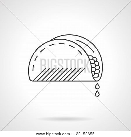 Mexican taco flat thin line vector icon