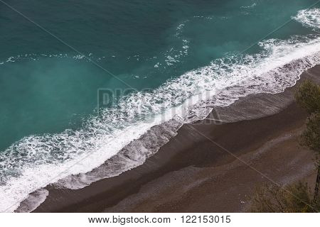 Aerial winter view of the beach on Amalfi seacoast Italy