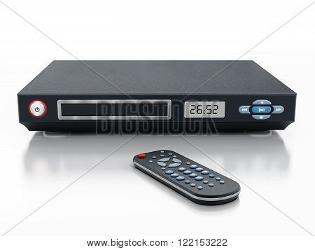 Blu-ray player with closed disc tray and remote controller